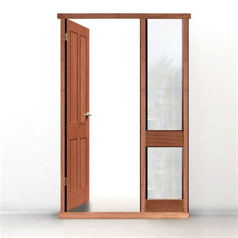 Door Framing by Exterior Door Frame With Side Glass Apertures Made To