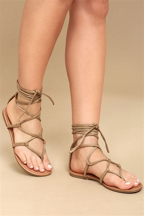 Sandal Wanita Ina Flat Shoes Beige beige lace up sandals flat sandals vegan leather sandals 18 00