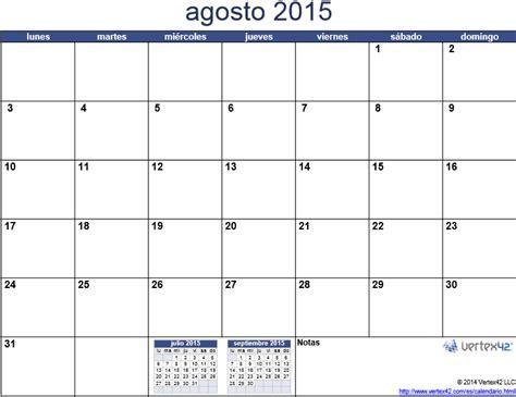 Calendario De Agosto 2015 Agosto 2015 Universo Guia