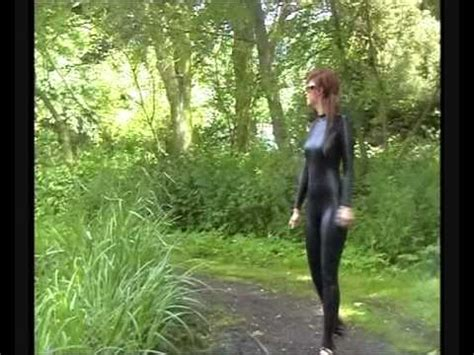 shiny spandex girl in mud black spandex metallic catsuit youtube