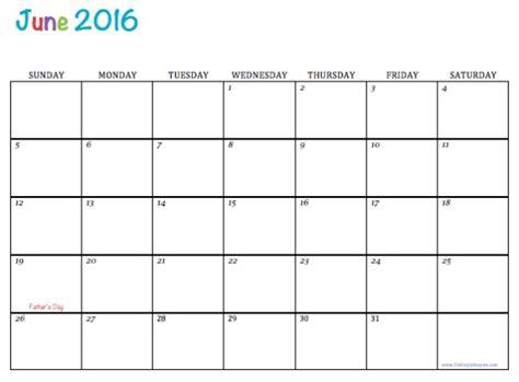 Calendar Printable 2016 June Free Printable Calendar June 2016