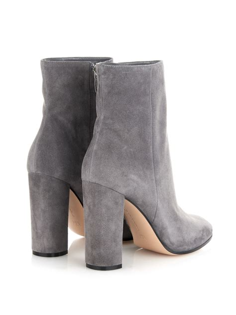gray suede boots gianvito rolling suede ankle boots in gray lyst