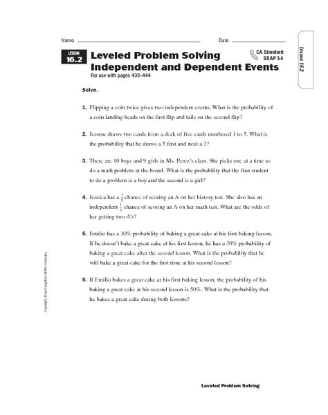 Probability Of Events Worksheet by Worksheets Probability Independent And Dependent Events