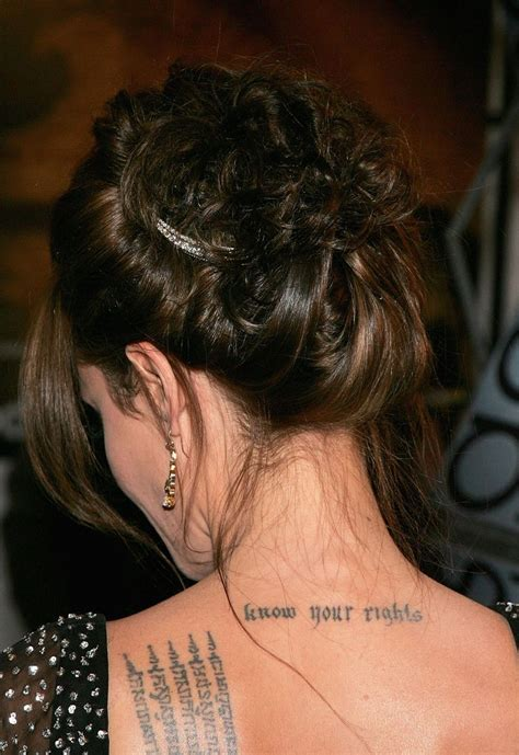 angelina jolie tattoo know your rights font angelina jolie s many tattoos