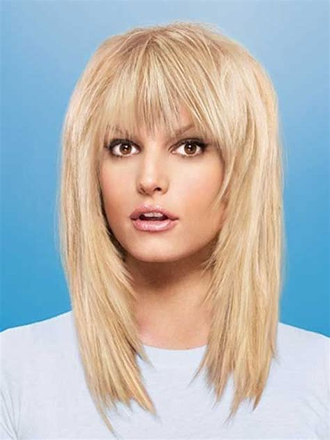 layered shaggy hairstyle with full bangs middle length 37 best hair with layers bangs images on pinterest