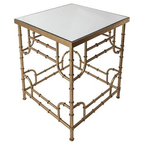Gold Mirrored Side Table by Oslo Mirrored Side Table Square In Bamboo Effect Gold 28225