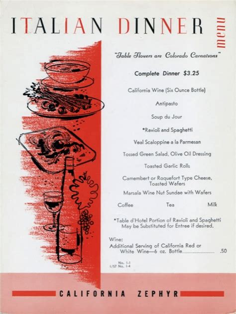 italian dinner menu dining aboard the california zephyr