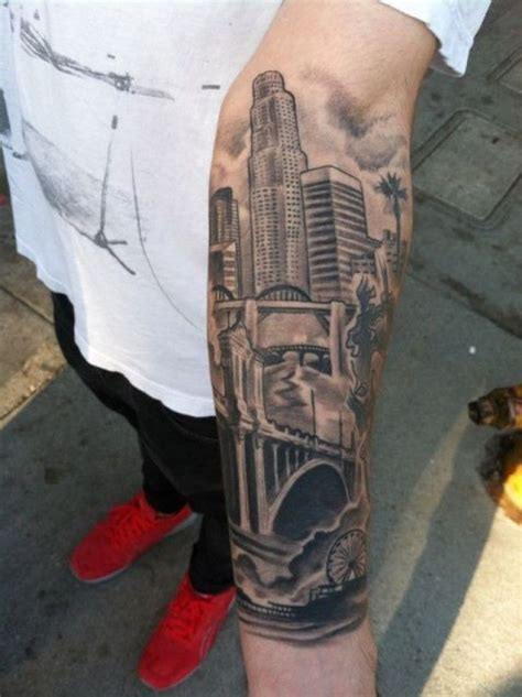 ink city tattoos real photo like black ink forearm of city sights