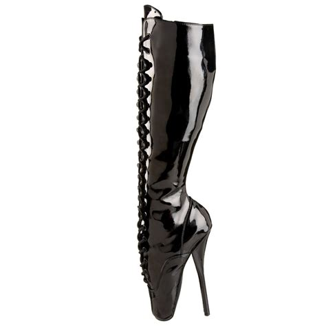 spike heel ballet stiletto lace up knee high