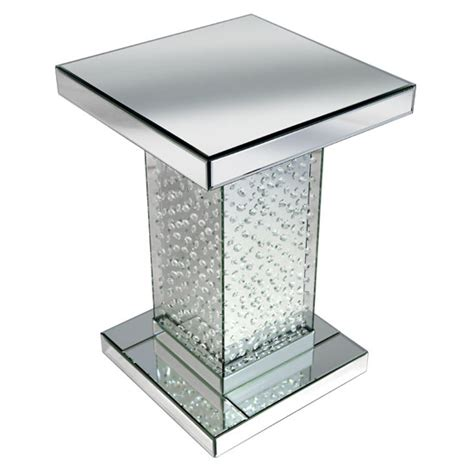 Flatpack Sofa Rosalie Side Table In Silver With Glass And Floating