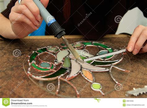 Church Kitchen Design Soldering Of Stained Glass Royalty Free Stock Photo