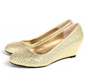 Wedding Shoes Gold Color Champagne Light Gold Color Female Party Wedding Shoes On Sales Wedges Heeled Quality Rivets