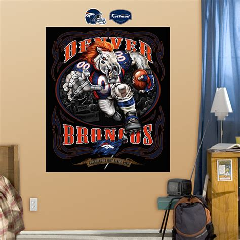 denver broncos birthday card template blistering bronco it out mural wall decal