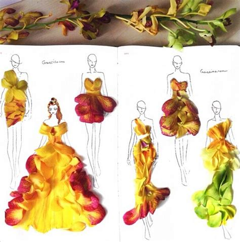 fashion illustration nature creative fashion design sketches using real flower petals