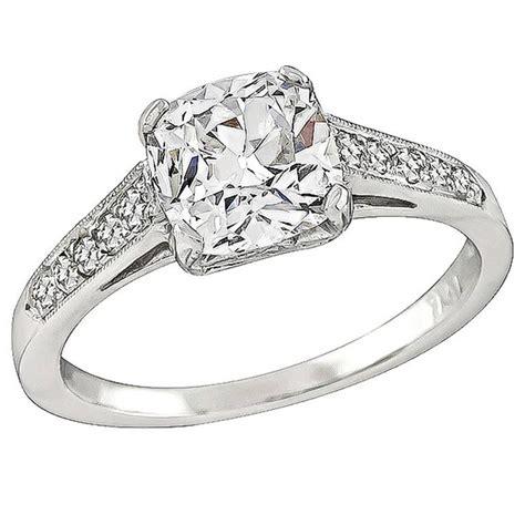 1 55 carat cushion cut platinum engagement ring