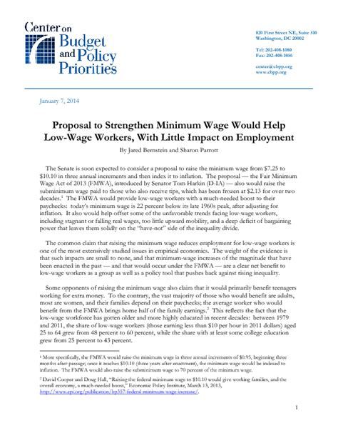 Living On Minimum Wage Essay by To Strengthen Minimum Wage Would Help Low Wage Workers With Impact On