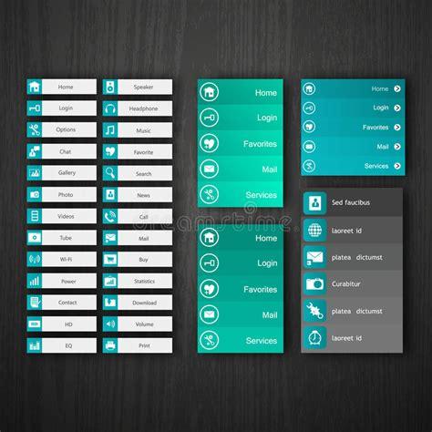 design menu buttons flat web design elements buttons icons templates for