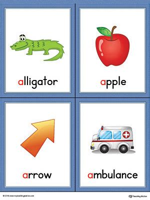 color beginning with e letter a words and pictures printable cards alligator