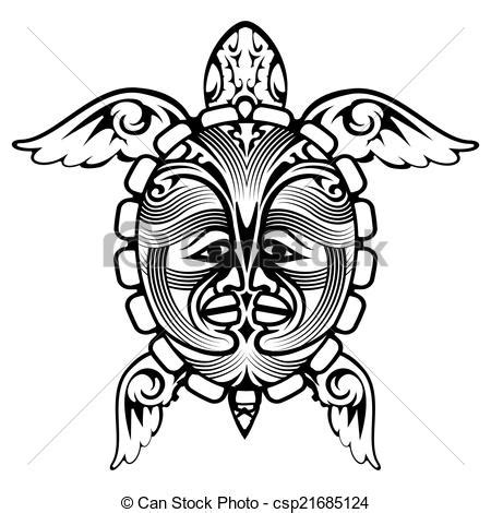 vector illustration of tribal totem animal turtle tattoo