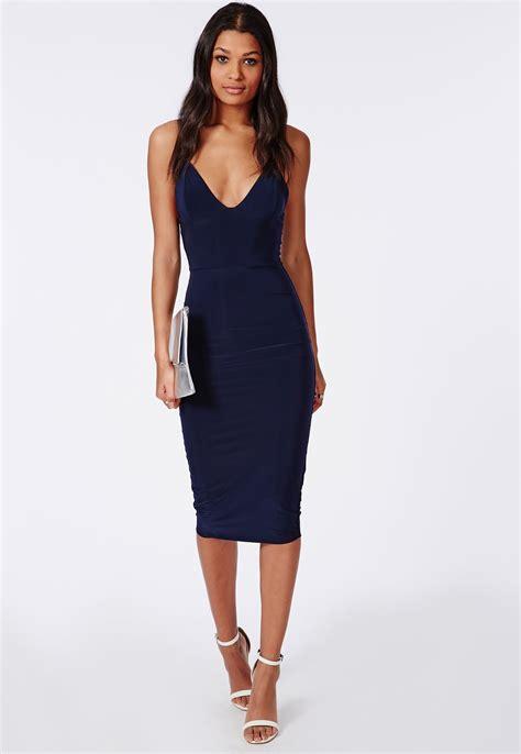 Midi Dress slinky midi dress navy dresses midi dresses missguided
