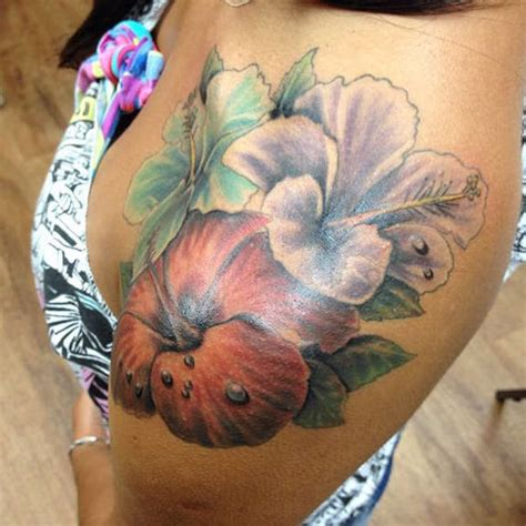 35 black amp grey and colorful hibiscus tattoos