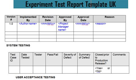 report testing template experiment test report template uk doc project