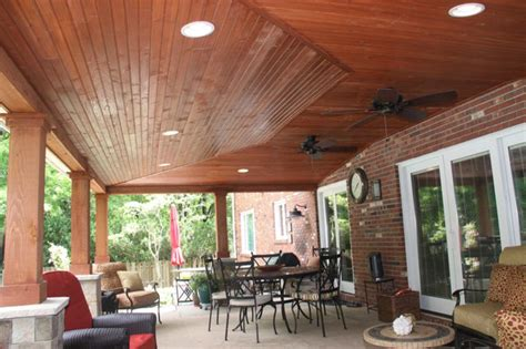 Covered Patio Lighting Covered Patio With Can Lights And Vaulted Ceiling Rustic Patio Cleveland By Jm Design Build
