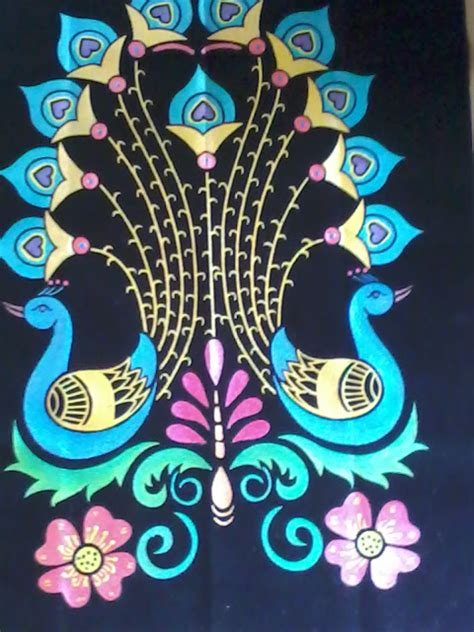 arts and crafts eboss painting peacock design