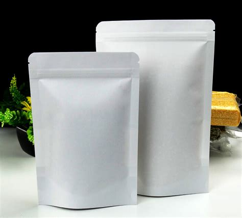 Standing Pouch Kombinasi Uk10x16 Cm 14 20cm with 4cm paper stand up pouches white plastic bag ziplock grip seal zipper rice bag