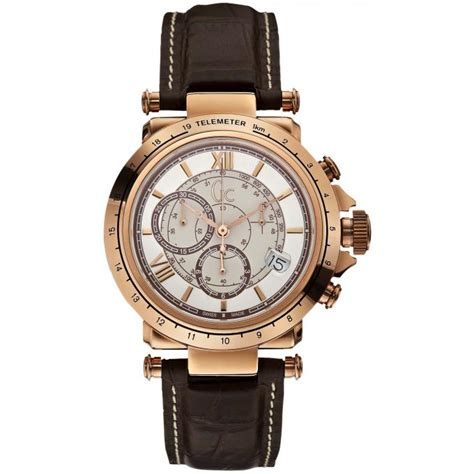 Gc Guci Collection montre gc x44001g1 montre cuir marron et cadran rond or