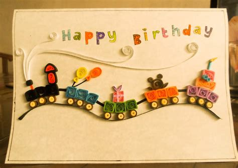 handmade paper quilling birthday card projects ideas