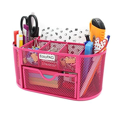 Pink Desk Organizers And Accessories Easypag Mesh Desk Organizer 9 Compartments Pink Accessories Caddy With Drawer Ebay