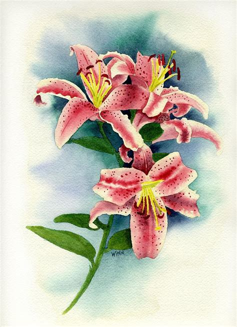 stargazer lilies painting by brett winn