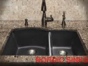 60 40 Kitchen Sink N S Black Granite Composite Undermount Kitchen Sink 60 40 Bowl Ebay