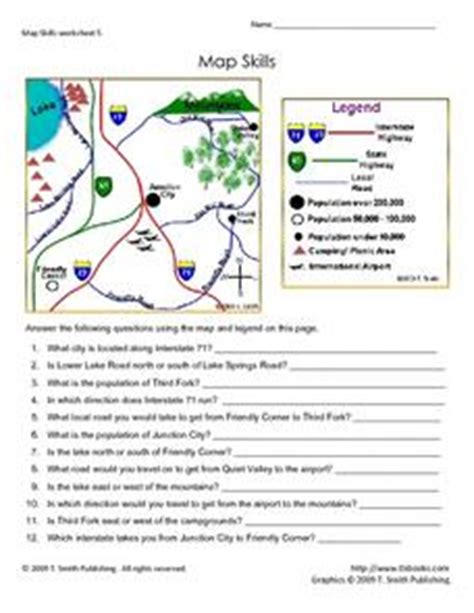 Grade 4 Map Skills Worksheets by Map Skills Worksheet 5 3rd 5th Grade Lesson Plan