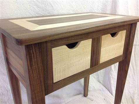 walnut end table custom made black walnut and tiger maple end table by