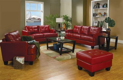 red living room set samuel red leather living room set 501831 from coaster