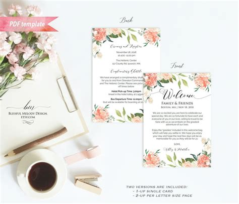 printable peach floral wedding  letter itinerary etsy