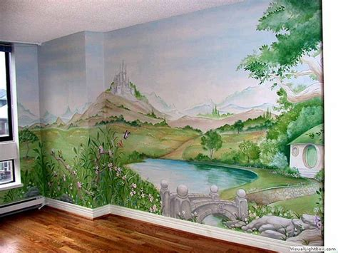 how to paint a mural on a bedroom wall the shire mural a whimsical painting depicting a theme