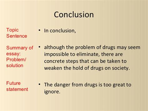 Essay Drugs Conclusion by Drugs