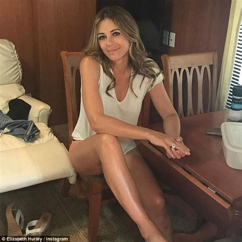 Liz Hurley In Brittish In Style by Elizabeth Hurley Puts On Leggy Display For Sizzling Selfie