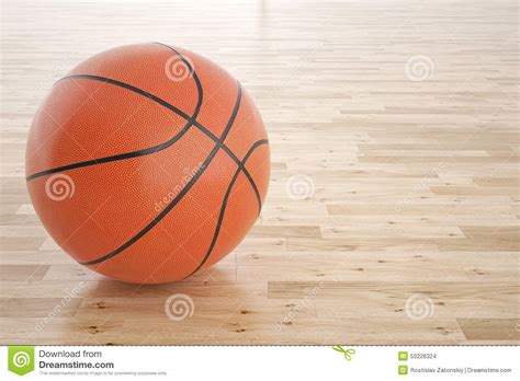 wood ball floor l basketball ball on the wooden floor stock photo image