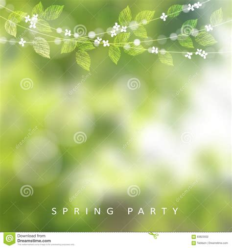 spring greeting card invitation string of lights leaves