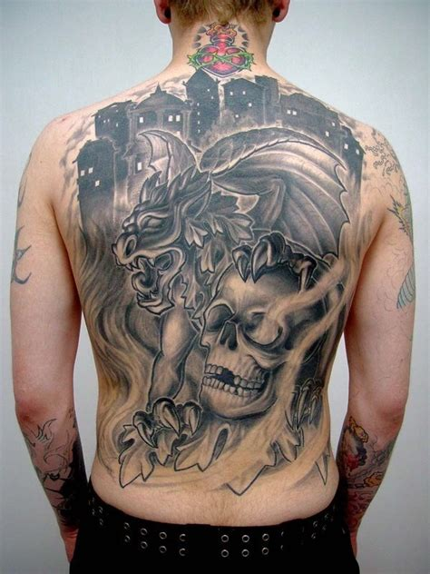 modern ink tattoo modern style black ink whole back of gargoyle