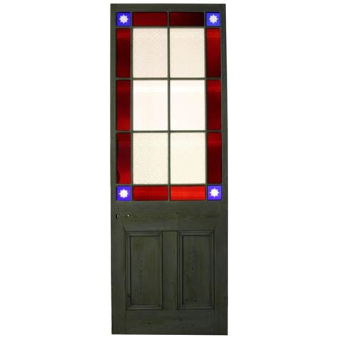 Victorian Stained Glass Door With Cut Glass Corners For Cut Glass Doors