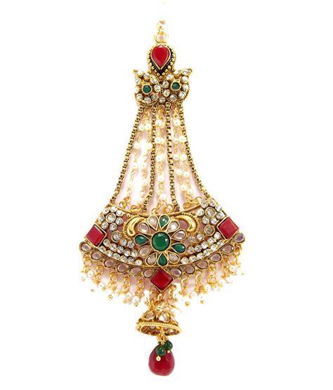 Muslim Maroon 9blings muslim bridal maroon green kundan cz gold tone