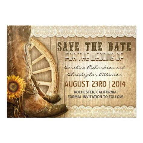country style save the date cards country style sunflower lace save the date invitation card