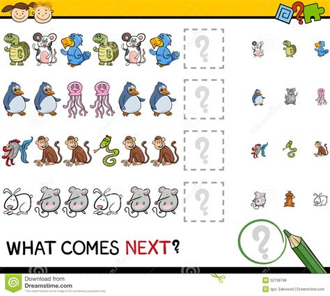 interactive pattern games for preschoolers what comes next game cartoon stock vector image 52138798