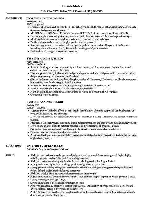 Resume Senior Systems Analyst by Systems Analyst Senior Resume Sles Velvet
