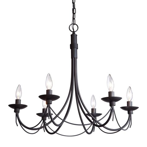 Wrought Iron Candle Chandeliers Shop Artcraft Lighting Wrought Iron 26 In 6 Light Black Wrought Iron Candle Chandelier At